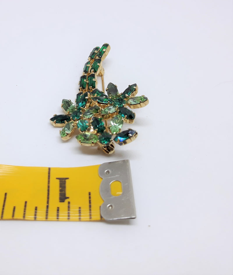 Stunning Marquis and Baguette Green Rhinestone Brooch with Gold