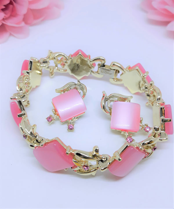 PINK Thermoset Square CORO signed Bracelet & Earrings