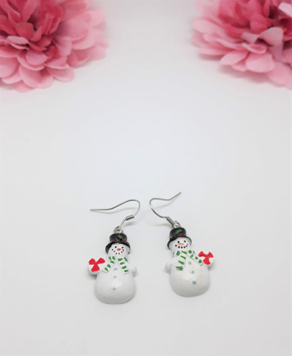 Snowman Earrings - Vintage, Dangle Pierced