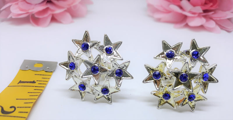 Stunning Vintage Silver and Royal Blue STAR patterned Clip-on Earrings