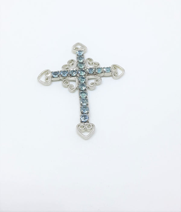 Stunning Silver and Turquoise Rhinestone Cross Pendant