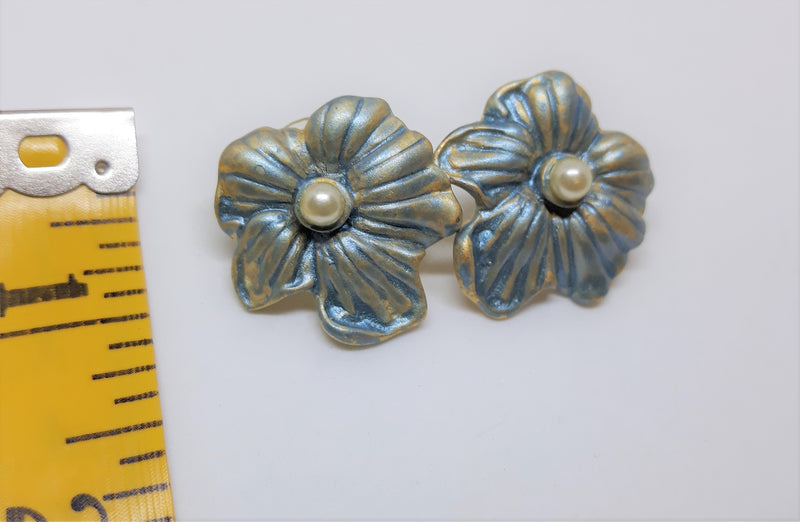 Adorable Blue and Gold Metal Floral Earrings - Pierced with Faux Pearl Center