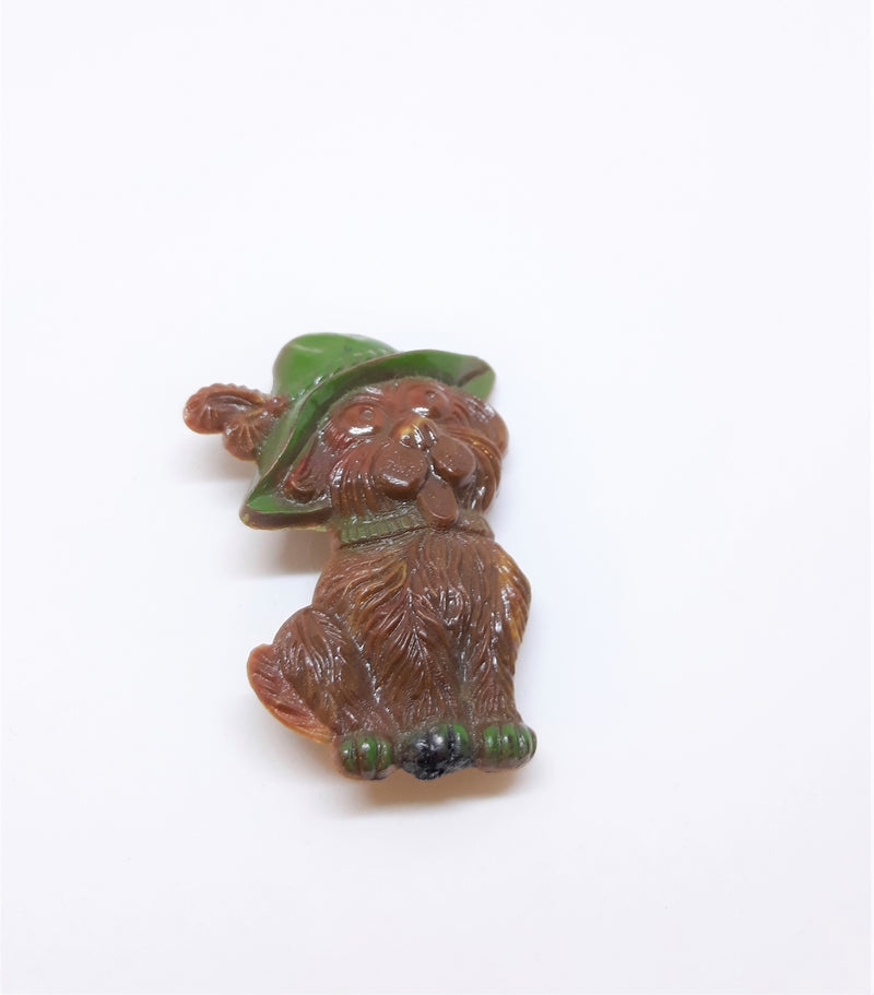 Vintage Celluloid Happy Dog Pin - Brooch - Made in Germany