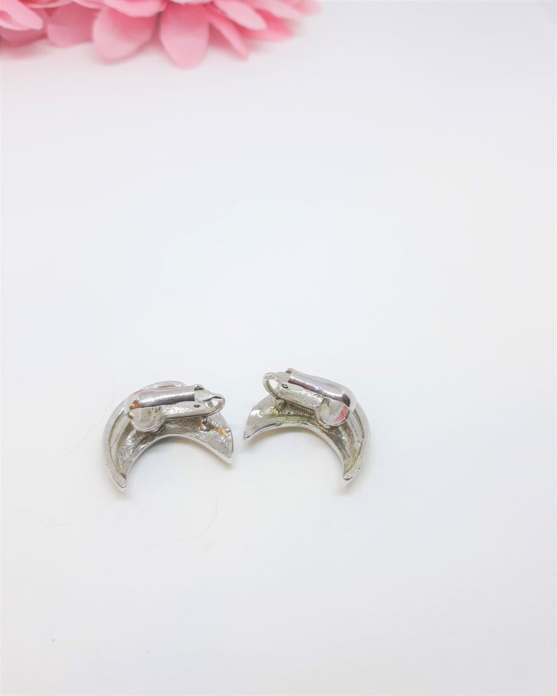 Vintage Silver and Rhinestone Half Moon Clip On Earrings