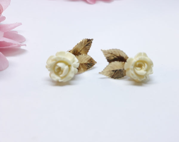 Gold Filled White Rose with Gold Petals - Screwback Earrings