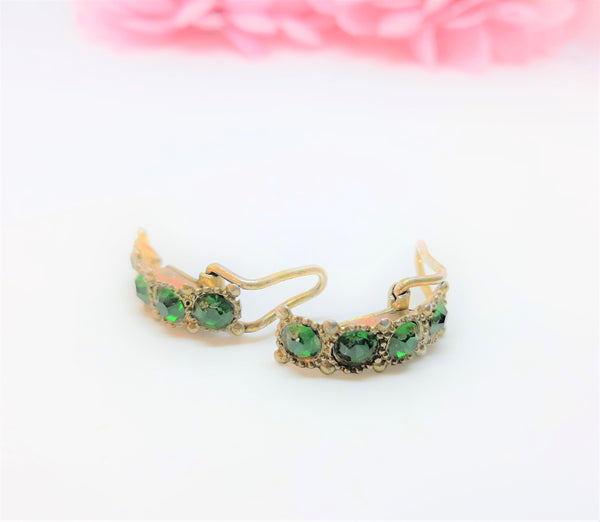 Vintage Green and Gold. Circa 1920s Clip Earrings