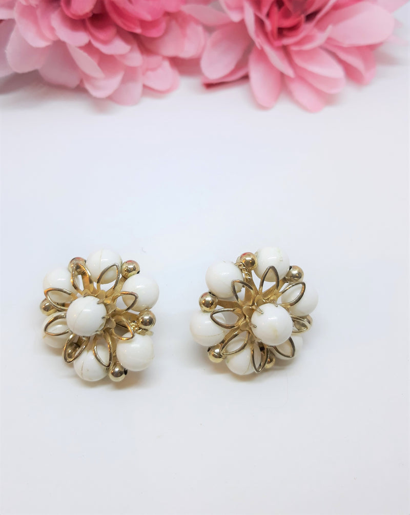 Stunning, Signed White and Gold Starburst Earrings - Coro Signed