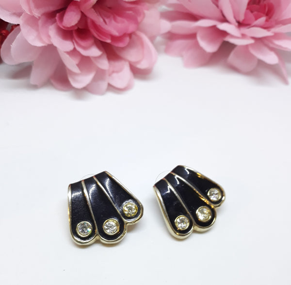 Black Enamel and Rhinestone Fan or Geometric Shaped Earrings - Pierced