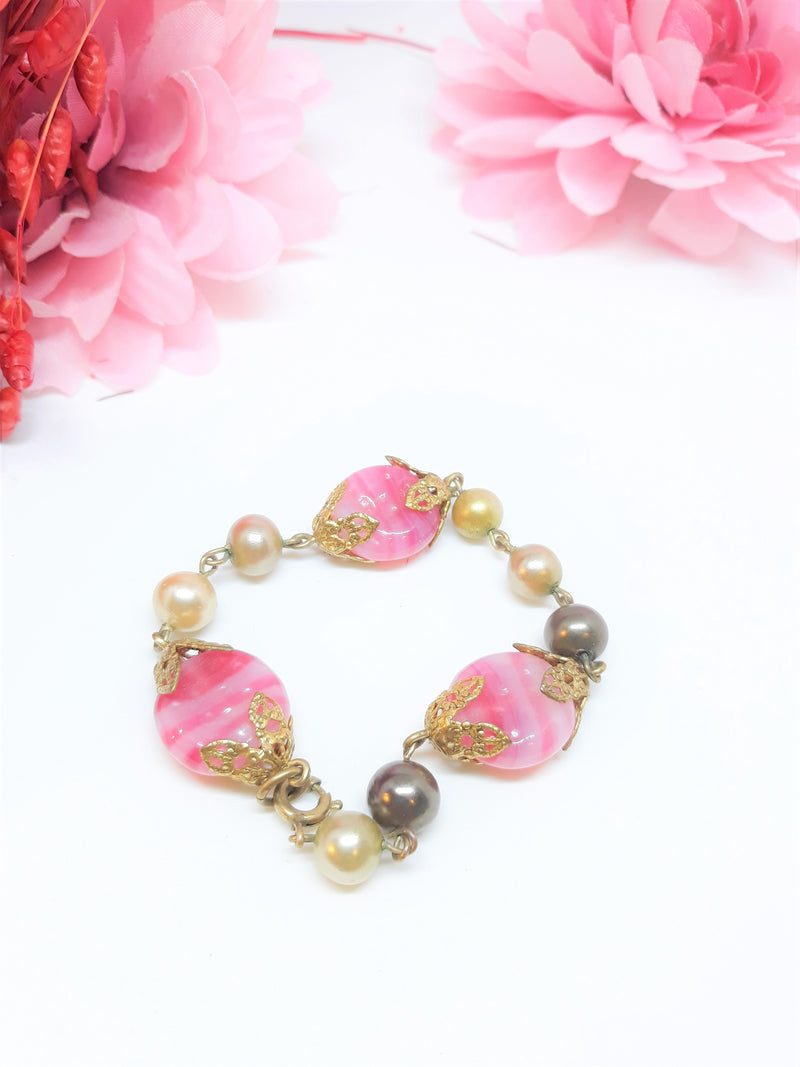Stunning 1960s Pink and Faux Pearl Bracelet
