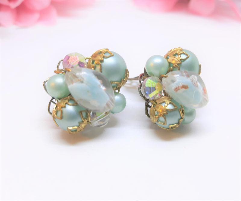 Robin Egg Blue Clip on Earrings