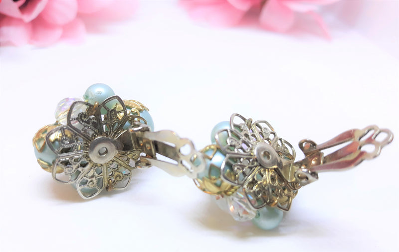 Stunning Robin Egg Blue Vintage Earrings with Aurora Borealis Glass Beads