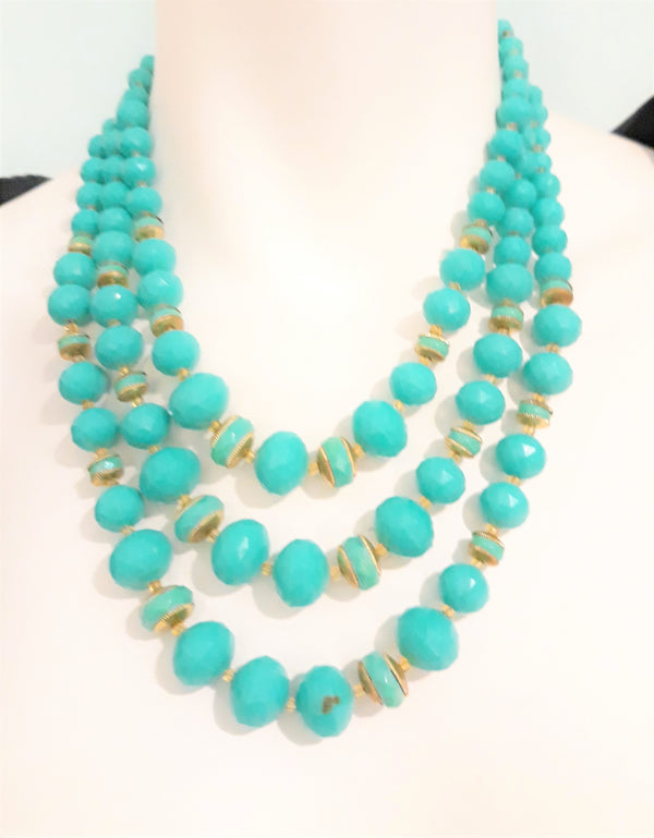 Vintage Turquoise Triple Strand Necklace with Matching Earrings Set