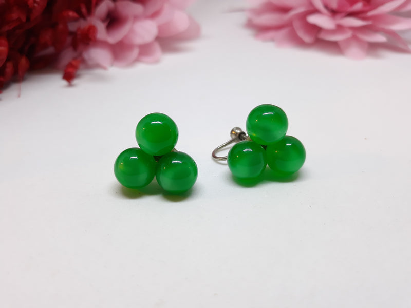 Stunning Green Moonglow Cluster Screw Back Earrings