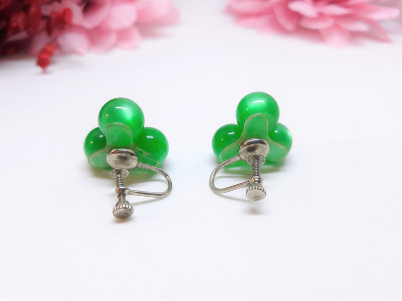 Moonglow Emerald Green Cluster Screw-back earrings, Vintage