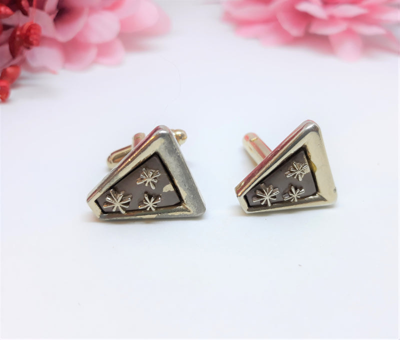 1950s Starburst Cuff Links - STARBURST pattern on ornate triangle gold tone