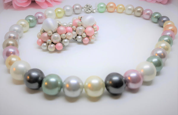 Stunning MultiColoured Faux Pearl Necklace with Earrings - JEWELRY SET Japan