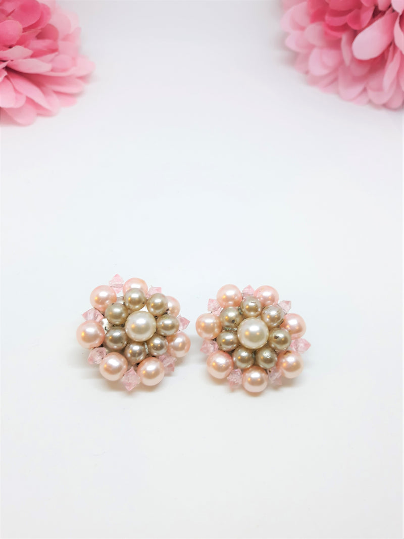 Vintage Pink, White and Grey Cluster Earrings - Clip-Ons - Made in Japan