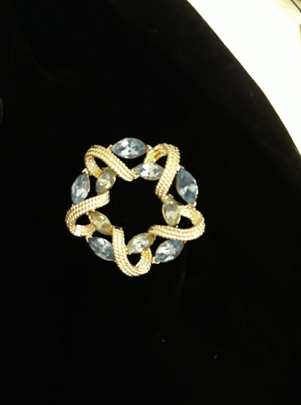 Coro, Signed Blue Marquis Brooch - In Mint Condition