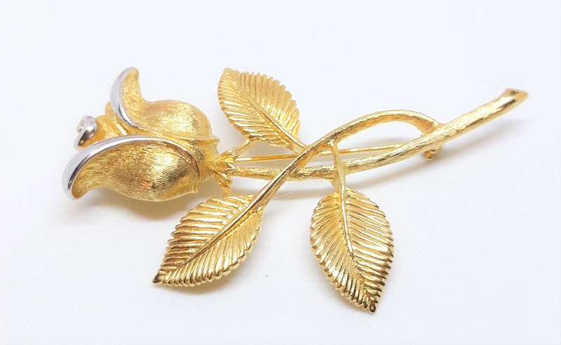 Vintage Gold Tone with Silver Brooch