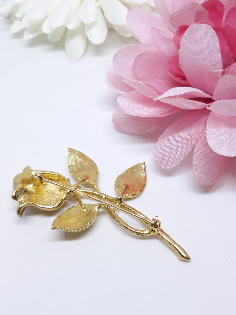 Vintage Rose Brooch - Gold with Silver