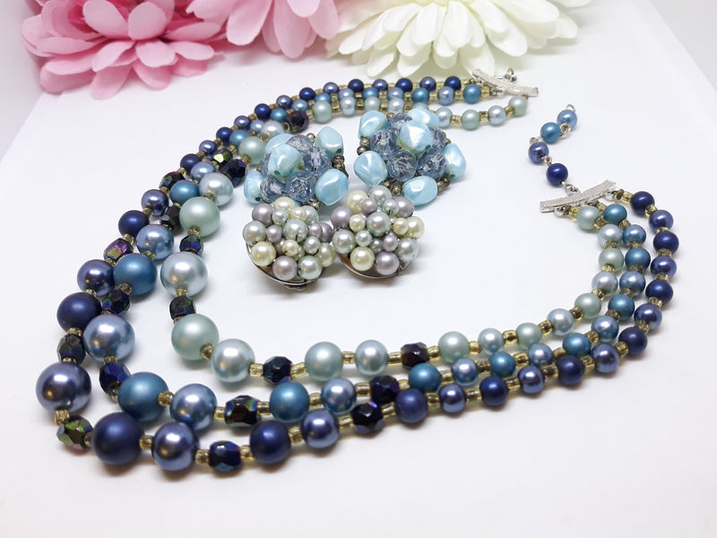 Vintage, 1950s Triple Strand Blue & Aurora Borealis Necklace with 2 Pairs of Earrings