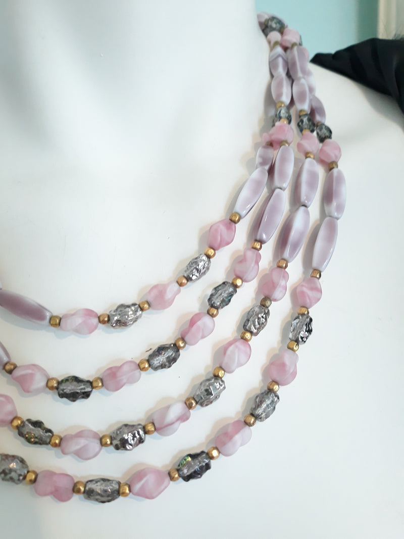 Vintage Pink and Purple Cabochon Four Strand Necklace and Bracelet Set