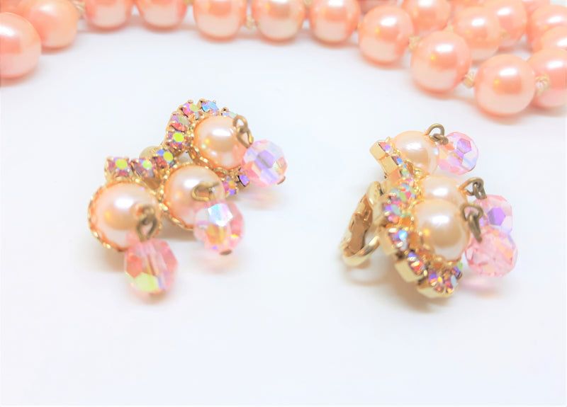Vintage High-End Pink and Aurora Borealis, Faux Pearl Stone Earrings - Stunning
