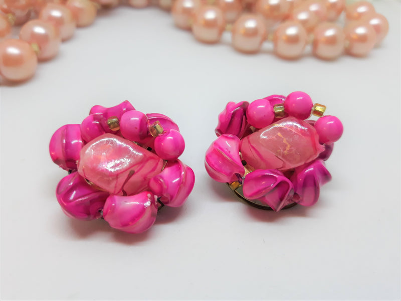 Vintage HOT PINK Cluster Clip-On Earrings - STUNNING - Made in Japan