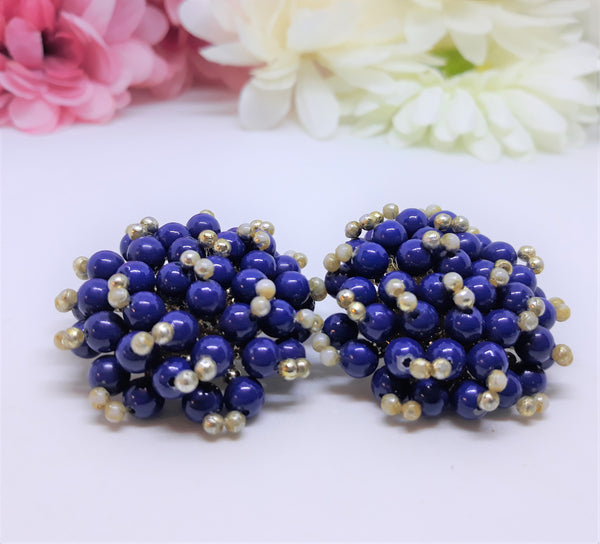 Large, 1.5 Inch Vintage 1950s Blue and Gold Cluster Earrings