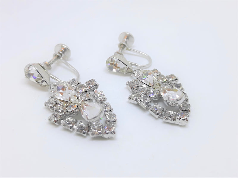 Stunning Vintage Marquis Rhinestone Screwback Earrings - Wedding/Bridal Wear, 1950s - 60s