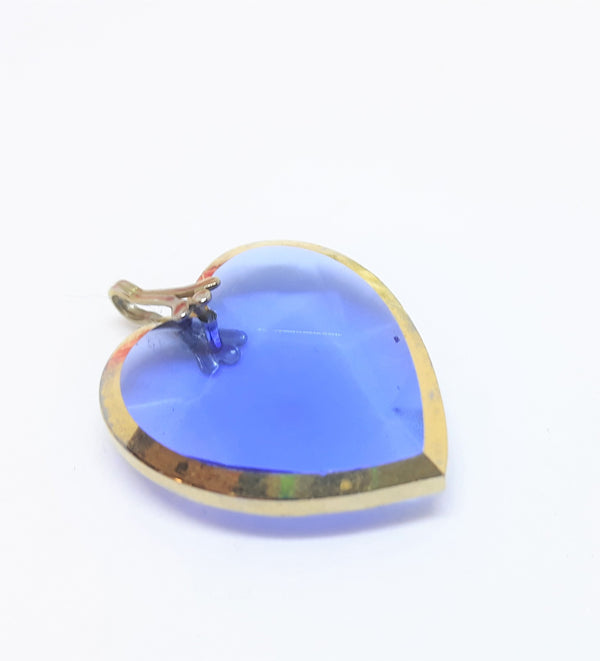 Blue Glass,  Heart Shaped Pendant - Gently Used