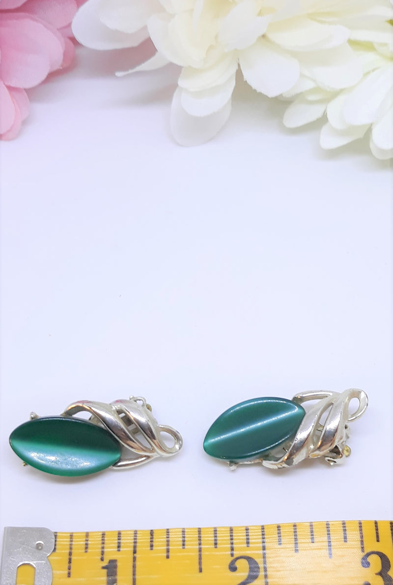 Vintage Emerald Green Moonglow Clip on Earrings - 1950s-60s