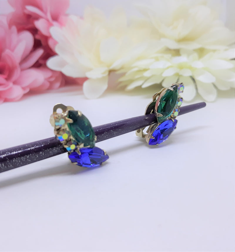 Stunning Green and Blue Marquis Stone Clip on Earrings with Aurora Borealis Stones