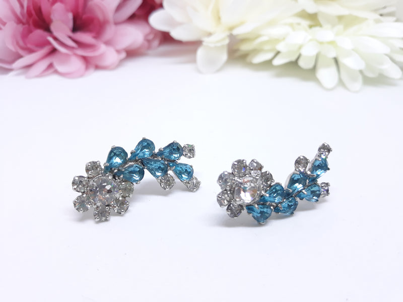 Vintage Teal Floral Screw Back Earrings - 1950s-60s Sheer Elegance