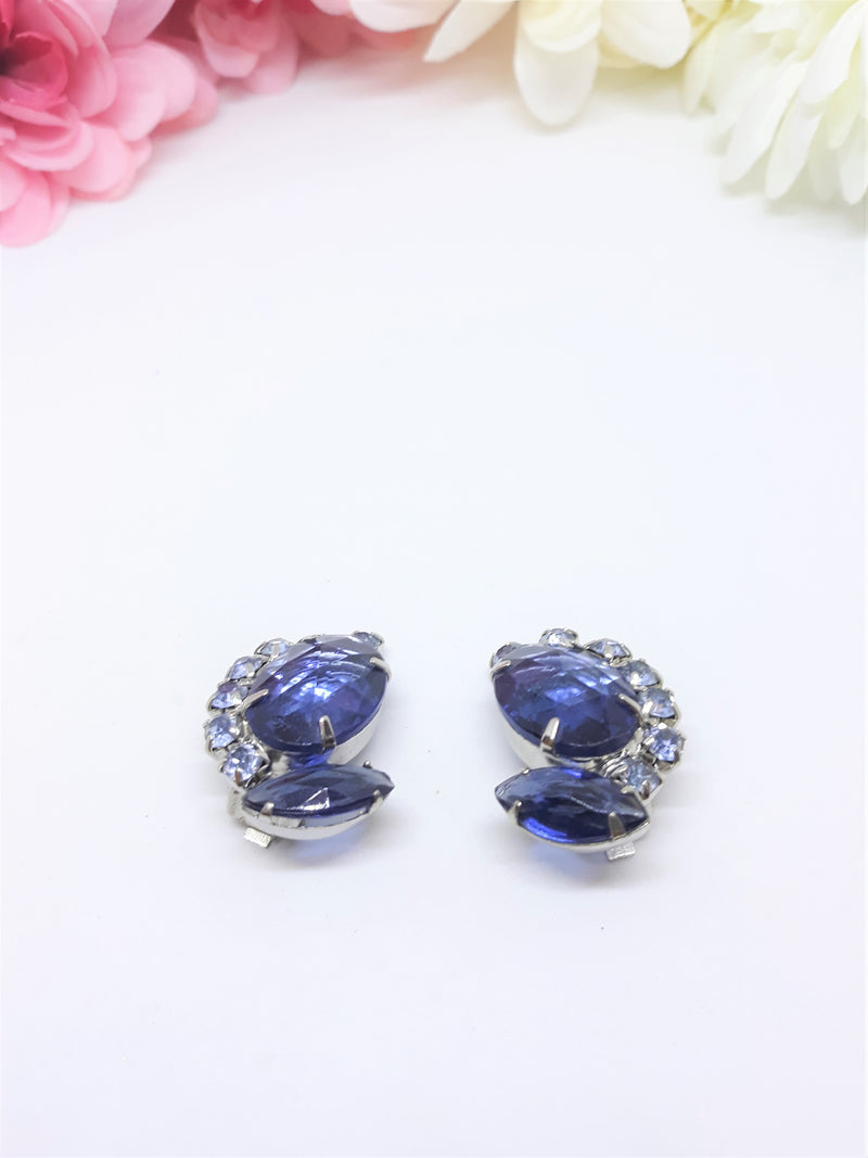 Stunning Blue Austrian Crystal Earrings - Clip-Ons