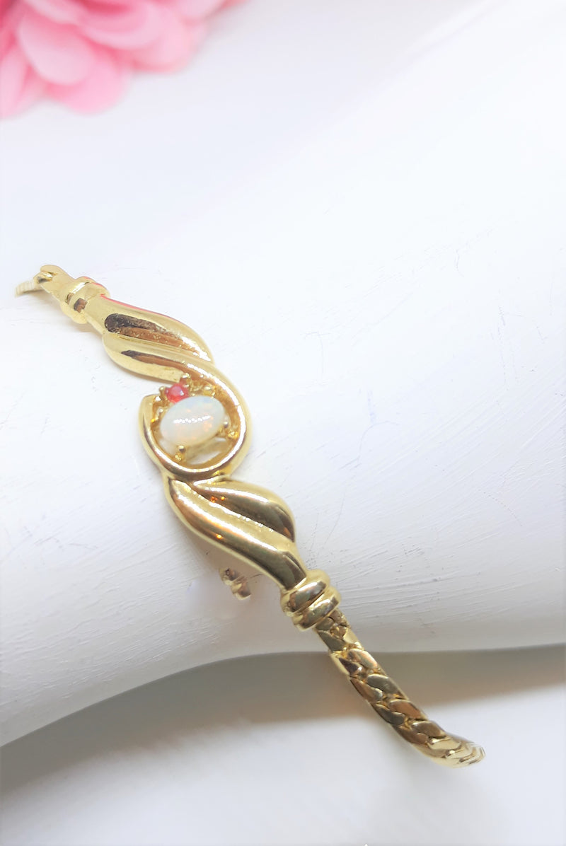 Vintage Gold Plated Bracelet with Opal and Red Rhinestone