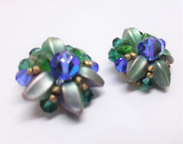 Stunning Cluster Blue and Green Vintage Cluster Earrings