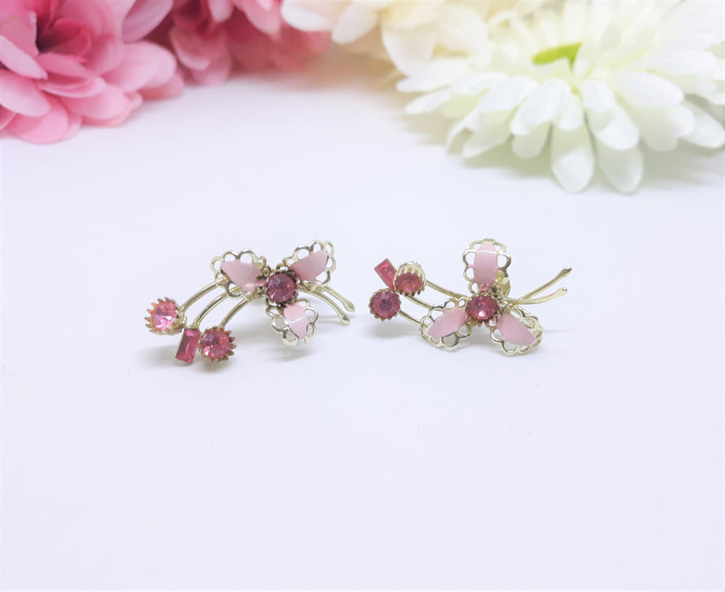Stunning Pink Floral Screw Back Earrings