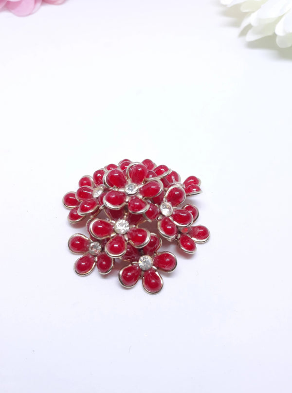 Coro Red Floral Brooch, Large, Stunning, 1950s Rhinestone and Red