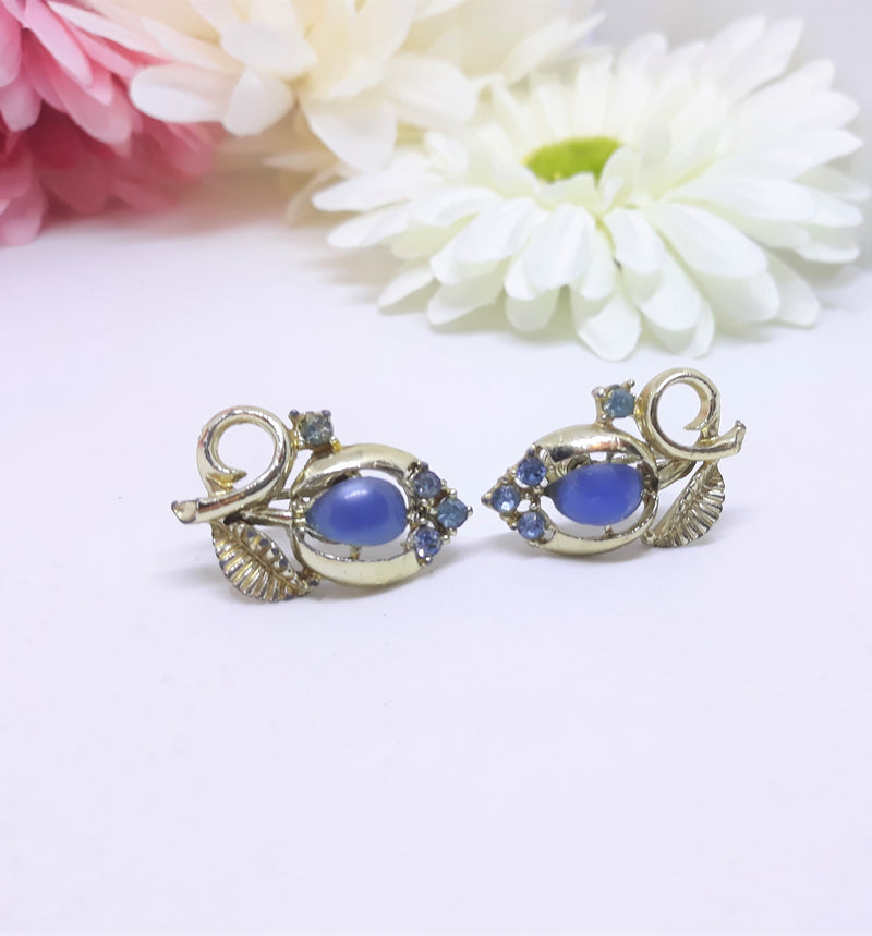 Vintage Gold and Blue Rhinestone Tulip, Screw Back Earrings