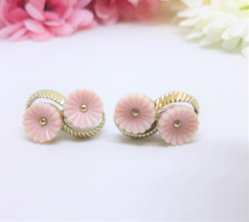 Stunning Vintage, Coro Hallmarked Clip on Earrings, Pink Floral with Silver