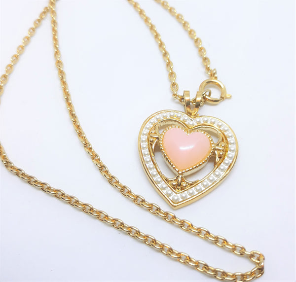 Vintage Heart Necklace with Pink Moonglow Stone and Faux Pearls