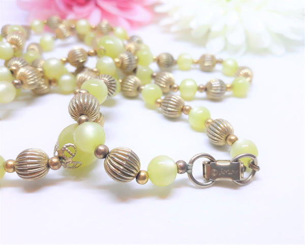 Coro Light Green and Gold Beads, Inlay Necklace