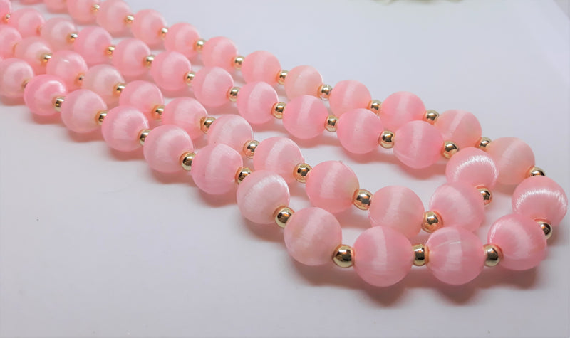 Vintage, 1960s Pink Fabric and Gold Beaded Necklace