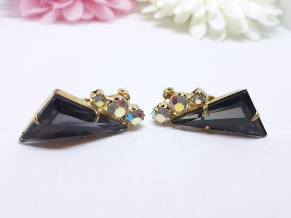 Stunning Juliana - Smokey Black and Aurora Borealis Rhinestone Clip-On Earrings