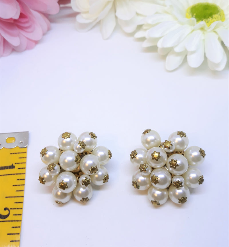 Large White and Gold Tone Vintage Cluster Earrings, 1.5 inches