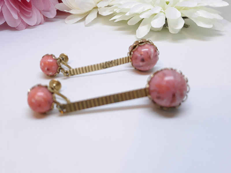 Pink Marble Dangle Earrings with Gold Tone, 1960s