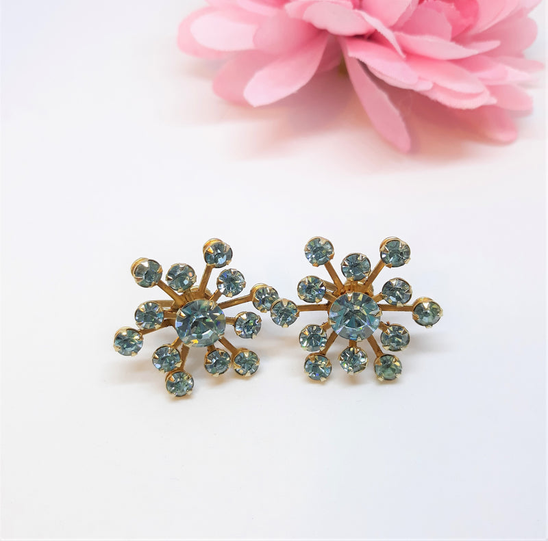 Turquoise - Teal Starburst Rhinestone Screw Back Earrings, 1950s-60s