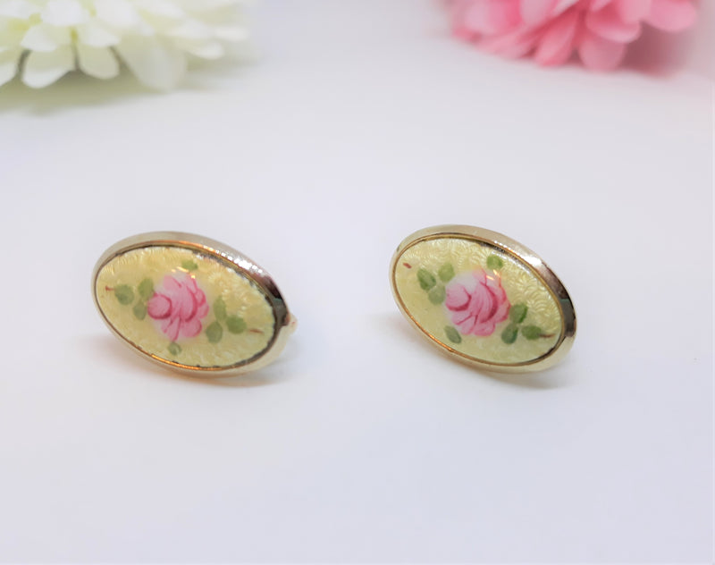 Vintage, Oval Shaped, Hand painted ROSE, Floral Screw Back Earrings with Pink and White