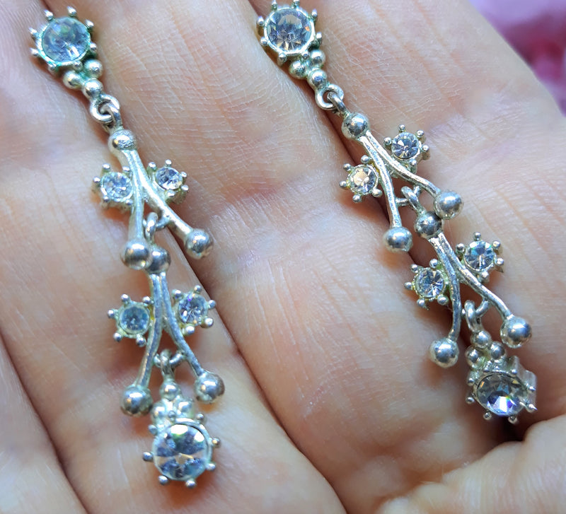 Stunning Silver and Rhinestone Dangle Earrings, 1920s Style, Pierced